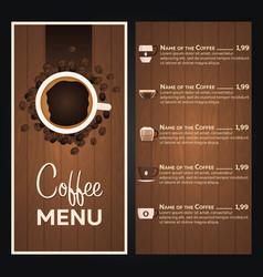 restaurant cafe menu coffee menu vector image
