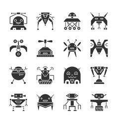 robot transformer black silhouette icon set vector image