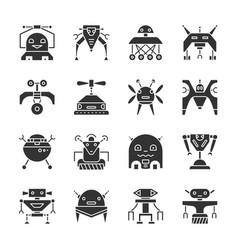 Robot transformer black silhouette icon set vector