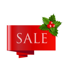 sale christmas banner with holly berry vector image