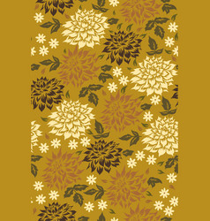seamless pattern with flowers in mustard colors vector image