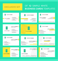 Set of 12 user profile creative busienss card vector