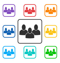 Set of group square icons with 3 peoples vector