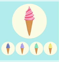 set of ice cream cones in different colors vector image