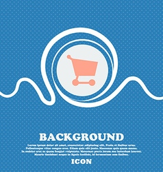 Shopping basket sign icon Blue and white abstract vector image