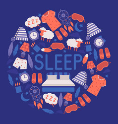 sleep and bedroom supplies banner vector image