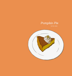 slice of pumpkin pie on the vector image