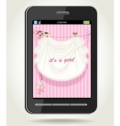 Smartphone with baby girl pink openwork vector