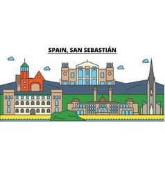 Spain san sebastian city skyline architecture vector