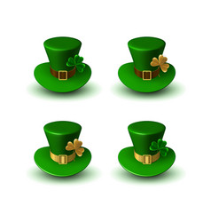 st patrick carnival green hats with clover leaf vector image