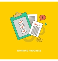 Stage of Business Process is Working Progress vector image