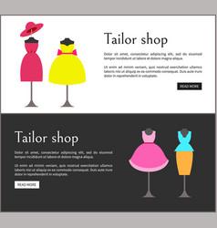 Tailor shop web pages set vector