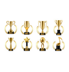 trophy cup with golden laurel realistic gold vector image