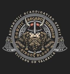 Viking vintage round badge vector