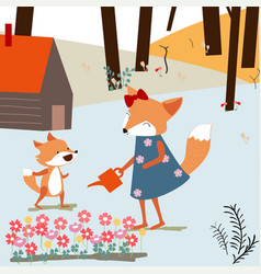 vintage cute spring summer baby fox and mom vector image