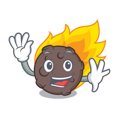 Waving meteorite character cartoon style vector