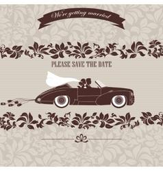 Wedding invitation bride and groom in car vector