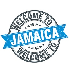 Welcome to Jamaica blue round vintage stamp vector