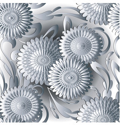 White 3d flowers seamless pattern light vector
