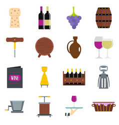 Wine icons set in flat style vector