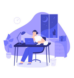 Woman work late at night tired female freelancer vector