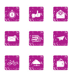 Zip code icons set grunge style vector