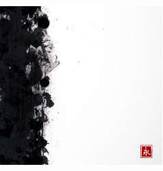 black grunge splash on white background vector image