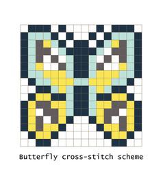 cross-stitch pixel art butterfly set vector image vector image