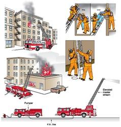 Fire rescue scenarios vector image