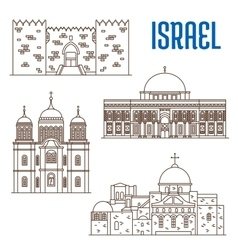 Sightseeings architecture landmarks of israel vector