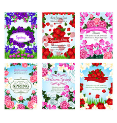 springtime greeting cards spring flowers bouquets vector image