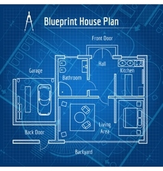 Blueprint house plan vector image