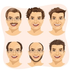 isolated set of mature man avatar vector image