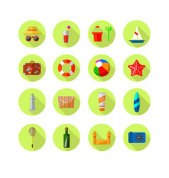set of beach colored icons vacation vector image vector image