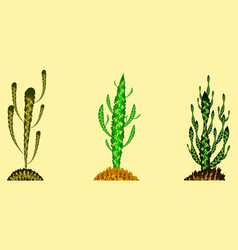 set of cactuses in different colors vector image