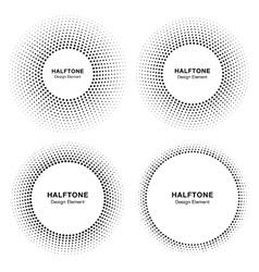 Set of Circle Frame Halftone Dots Logo Elements vector image