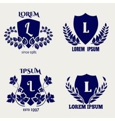 Vintage heraldic floral shields vector image