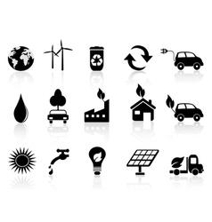 black eco icon vector image vector image