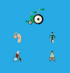 flat icon disabled set of equipment injured vector image vector image