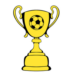 golden soccer trophy cup icon icon cartoon vector image
