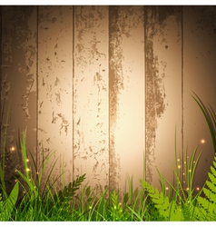 grass over wooden background vector image vector image