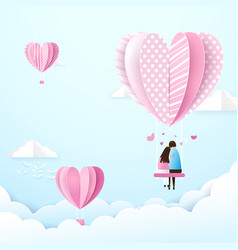 happy couple in love swings with heart shape vector image vector image