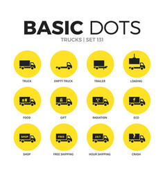 trucks flat icons set vector image vector image