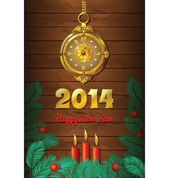 Christmas Background with Clock vector image