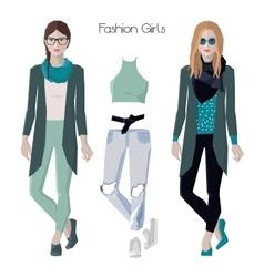 Fashion girls set vector image