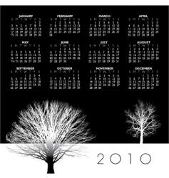 2010 trees calendar vector image vector image