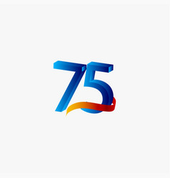 75 years anniversary celebration number blue vector