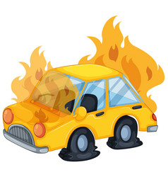 Accident scene with car on fire vector