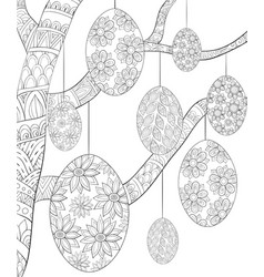 Adult coloring bookpage a tree with easter eggs vector