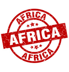 Africa red round grunge stamp vector